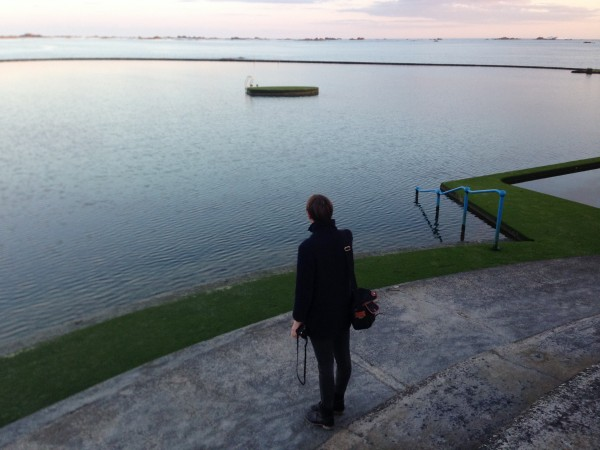 Just in time to catch the beautiful sunset at the Jersey Swimming Club. Elie takes a moment to admire sunset.