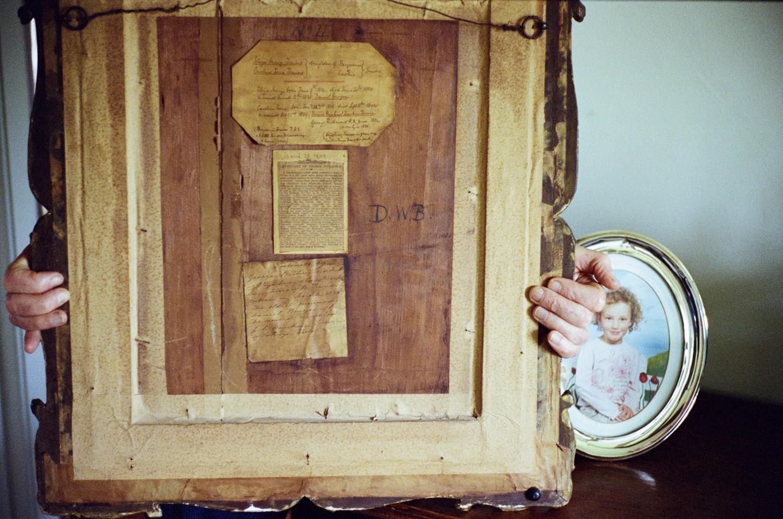 Back of portrait of Eliza May Travers and Caroline Jane Travers, 1835